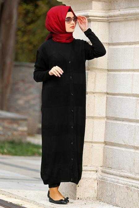 Neva Style Tesettür Uzun Triko Hırka Modelleri