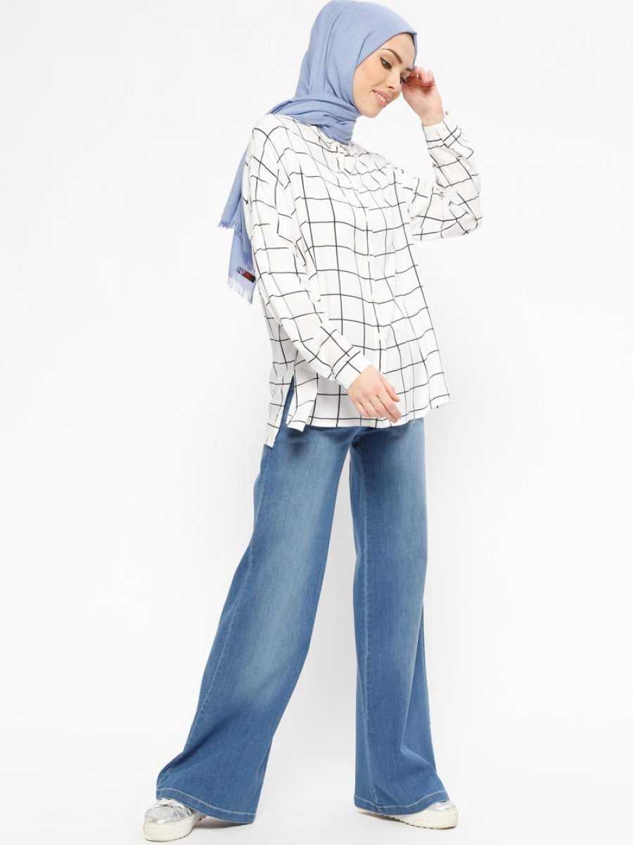 Nihan Bol Paça Tesettür Kot Pantolon Modelleri