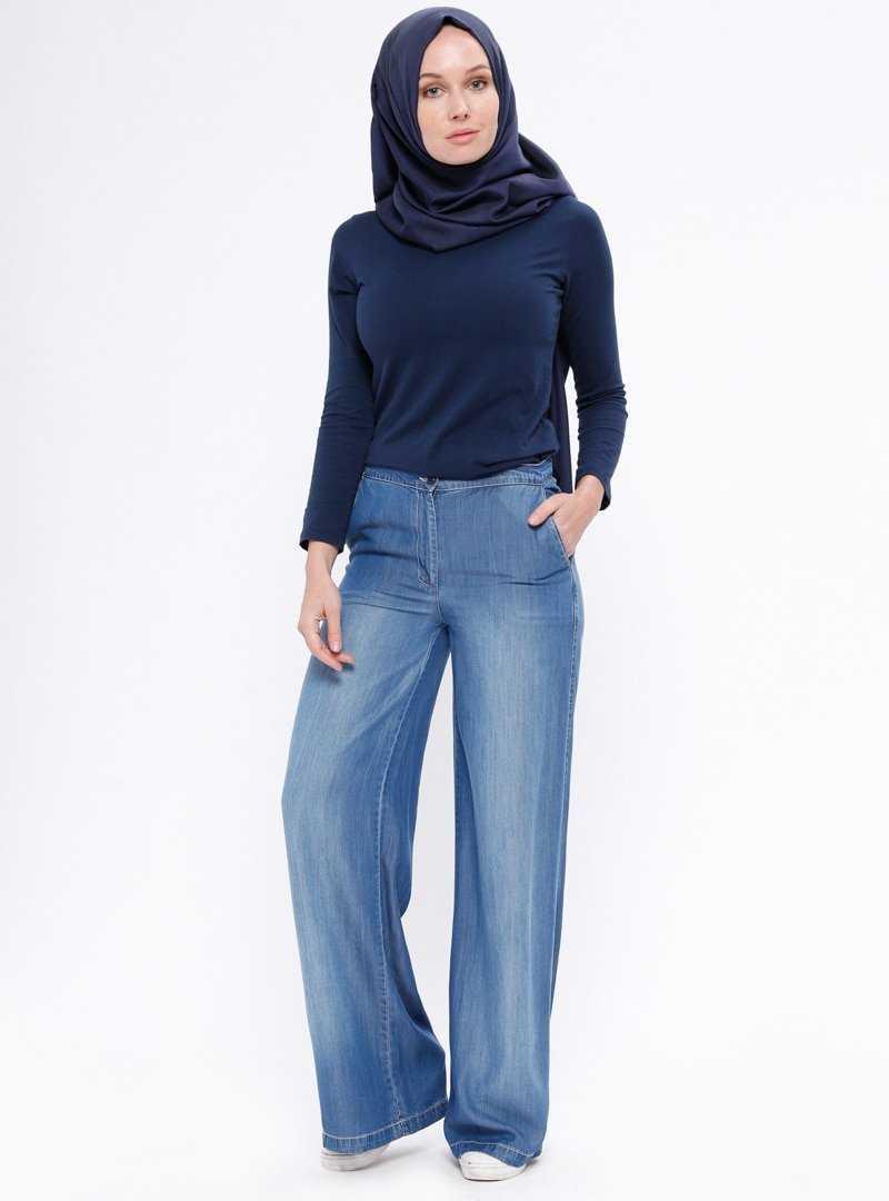 Nihan Bol Paça Tesettür Pantolon Modelleri