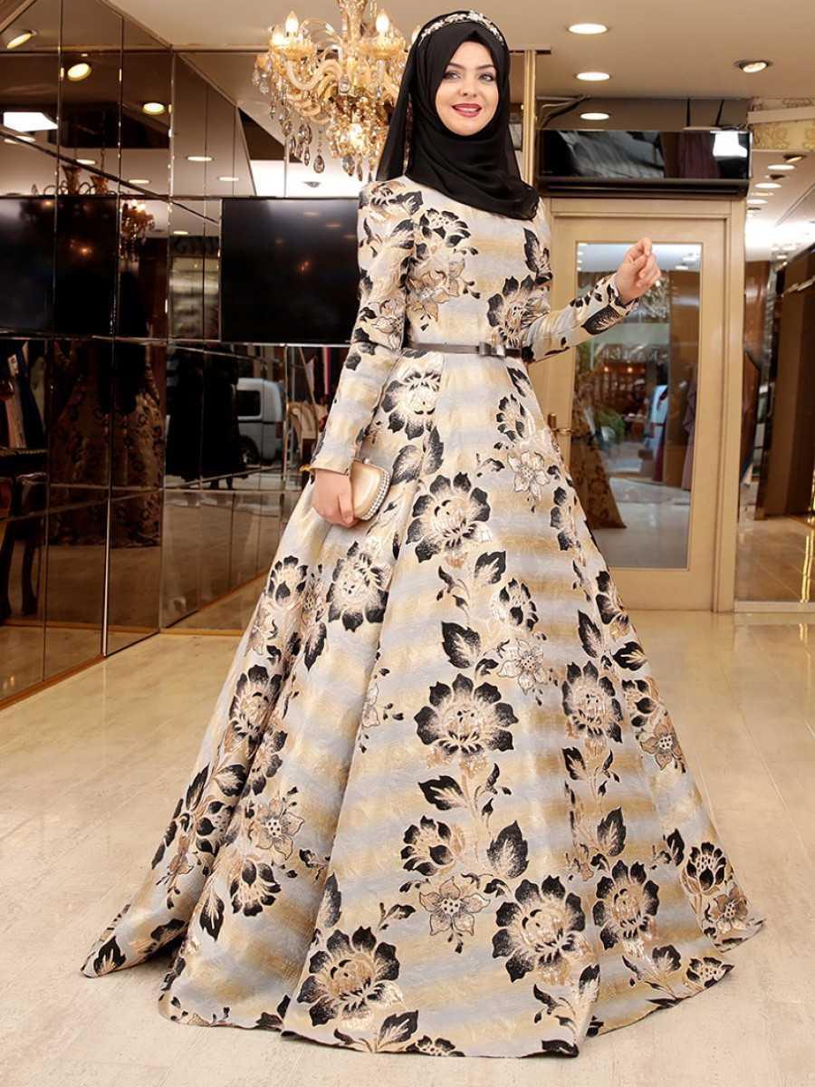 Pınar Şems Çiçek Motifli Abiye Elbise Modelleri