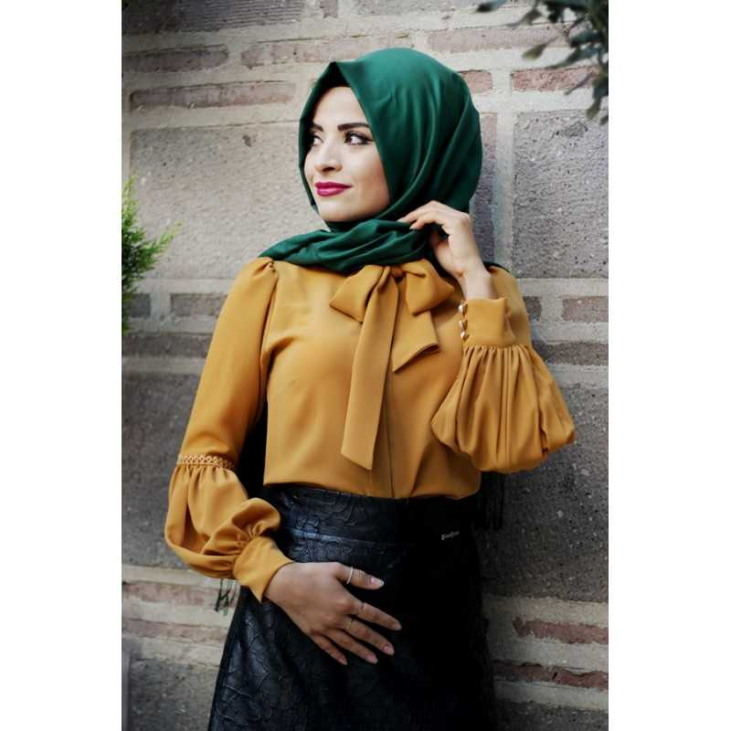 Pınar Şems Balon Kol Şık Tesettür Gömlek Modelleri