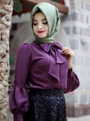 Pınar Şems Balon Kol Tesettür Gömlek Modelleri