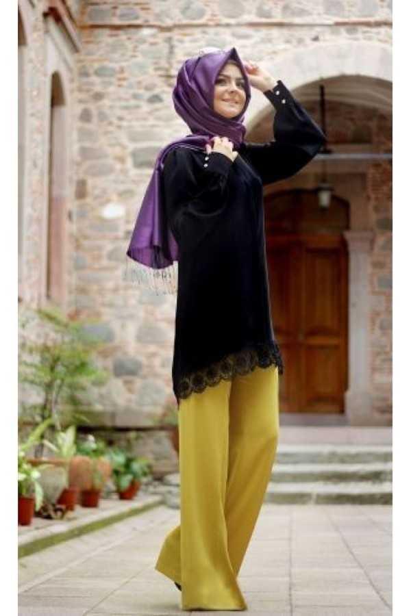 Pınar Şems Bol Paça Tesettür Sarı Pantolon Modelleri