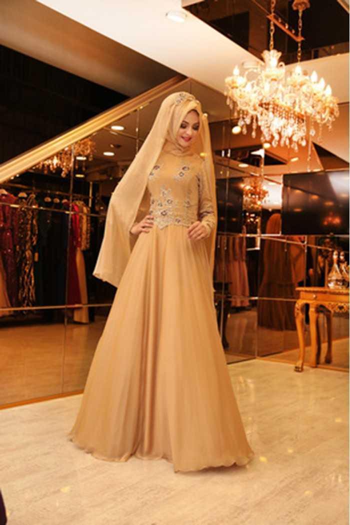 Pınar Şems Gold Abiye Elbise Modelleri