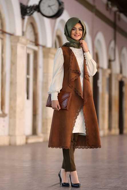 Pınar Şems Tesettür Süet Yelek Modelleri