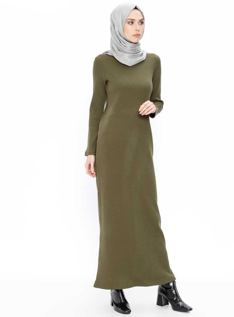 Puane Fitilli Tesettür Haki Elbise Modelleri