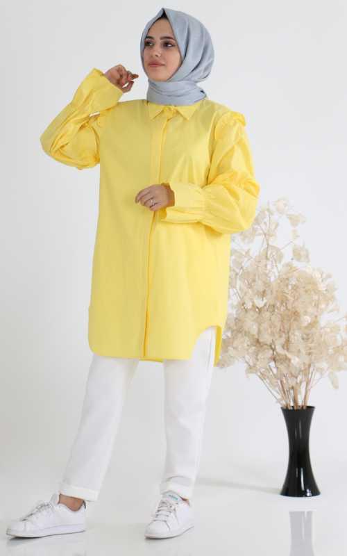 Sahranur Balon Kol Tesettür Gömlek Modelleri