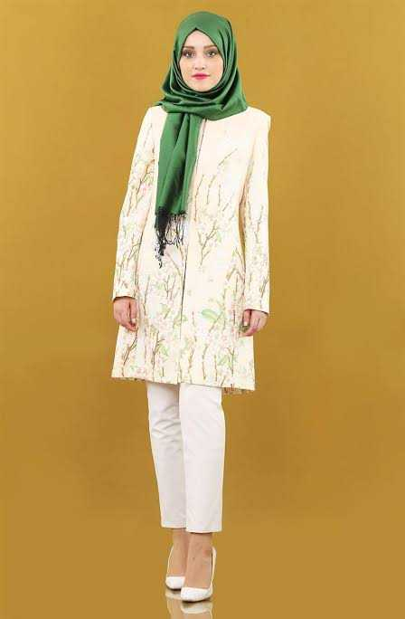 Sandos Çiçek Desenli Tesettür Ceket Modelleri