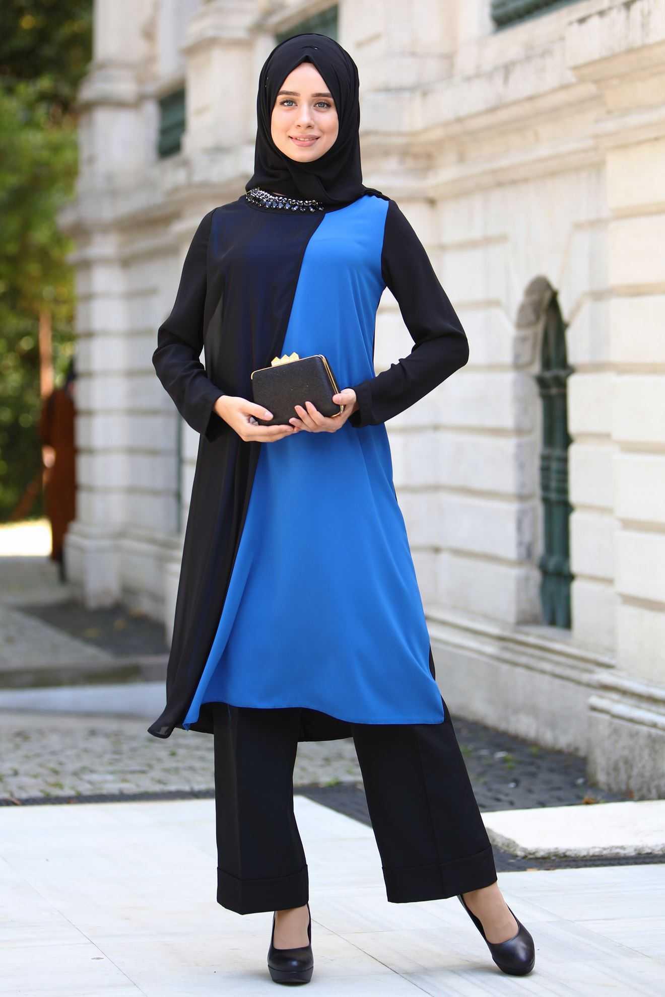 Sedanur Mavi Renk Tunik Modelleri