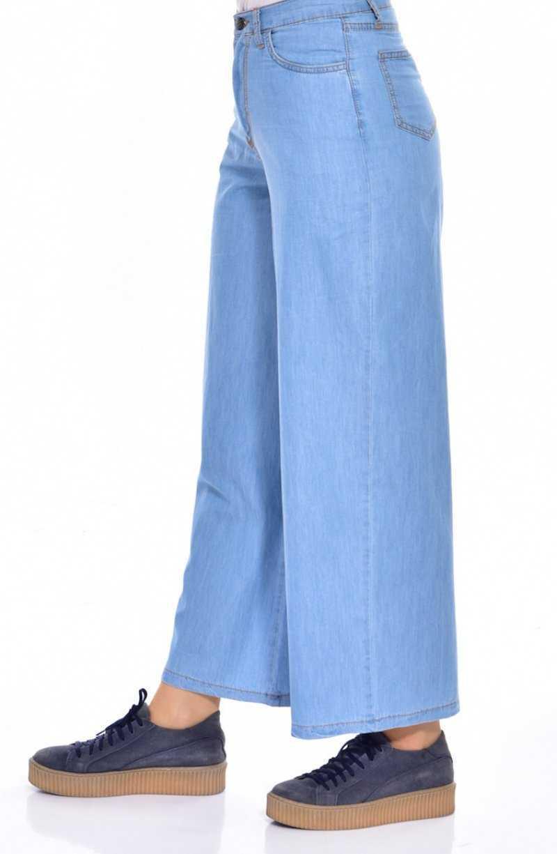Sefamerve Bol Paça Tesettür Kot Pantolon Modelleri