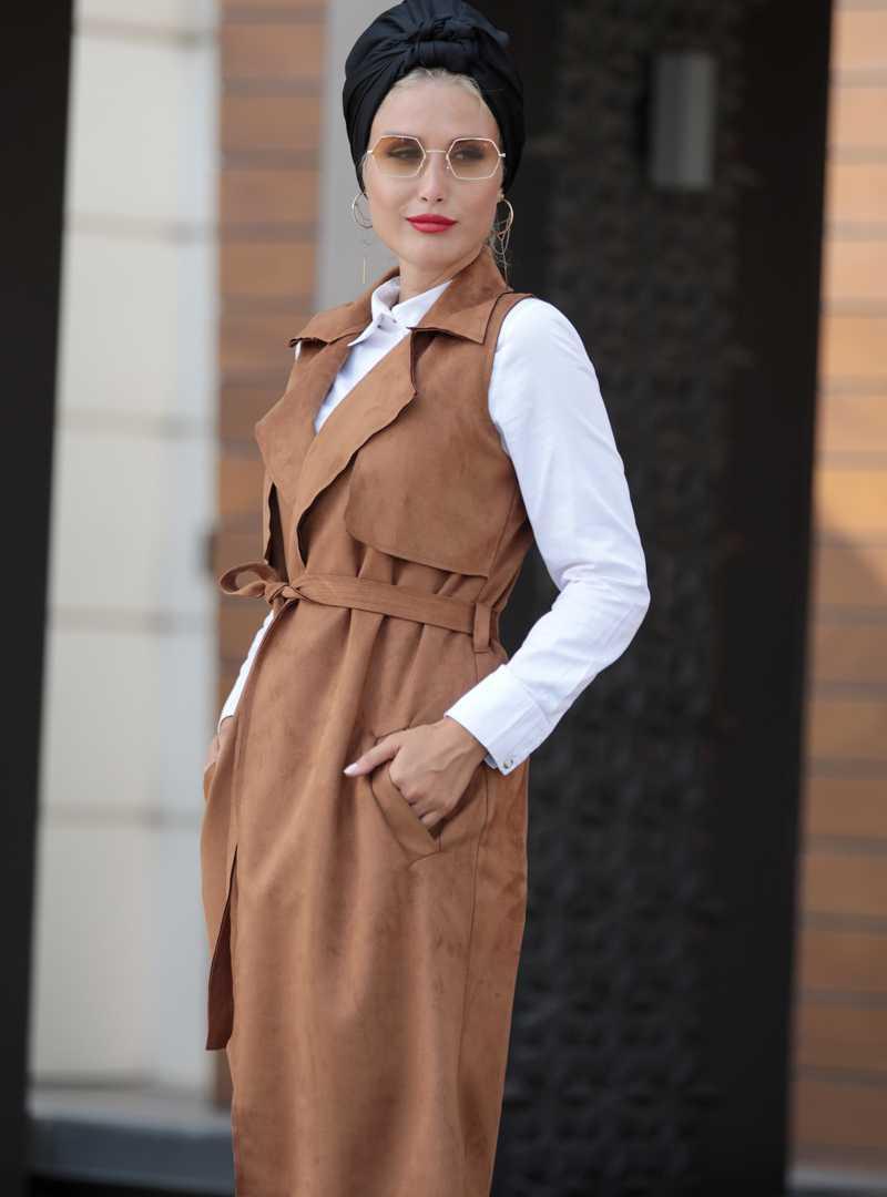 Selma Sarı Design Tesettür Süet Yelek Modelleri