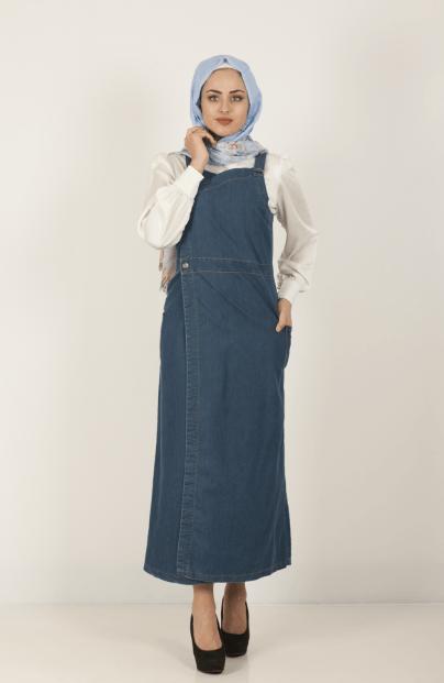 Tesettür Askılı Kot Elbise Modelleri