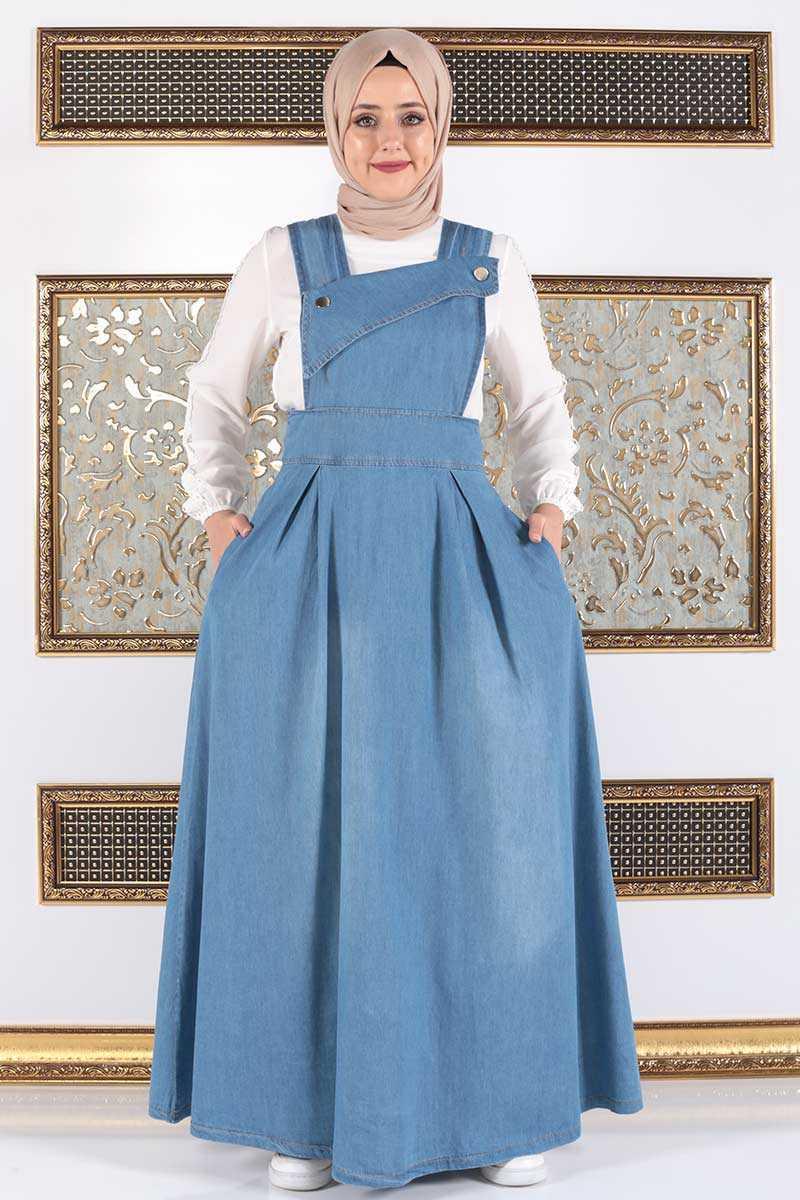 Tesettür Dünyası Salopet Kot Elbise Modelleri