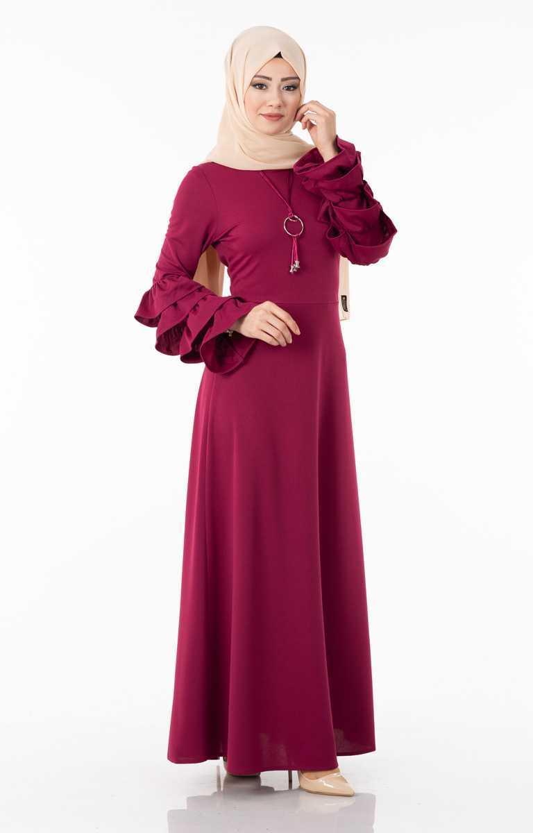 Tesettür Pazarı Kolları Katlı Elbise Modelleri
