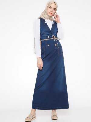 Timin Tesettür Askılı Kot Elbise Modelleri