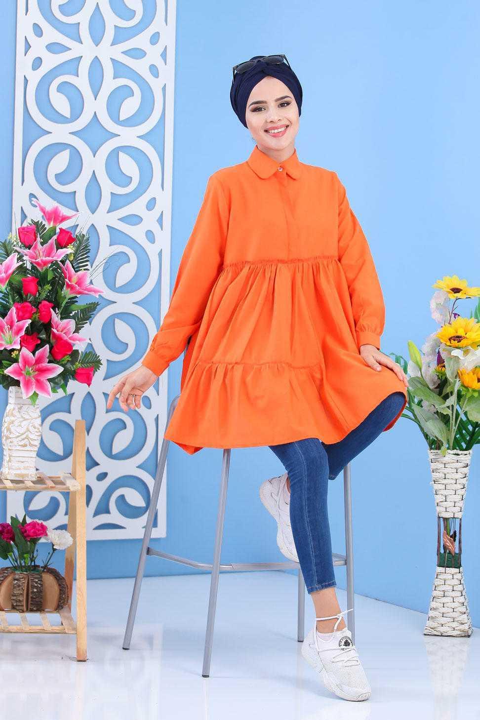 Tofisa Büzgülü Tesettür Tunik Modelleri