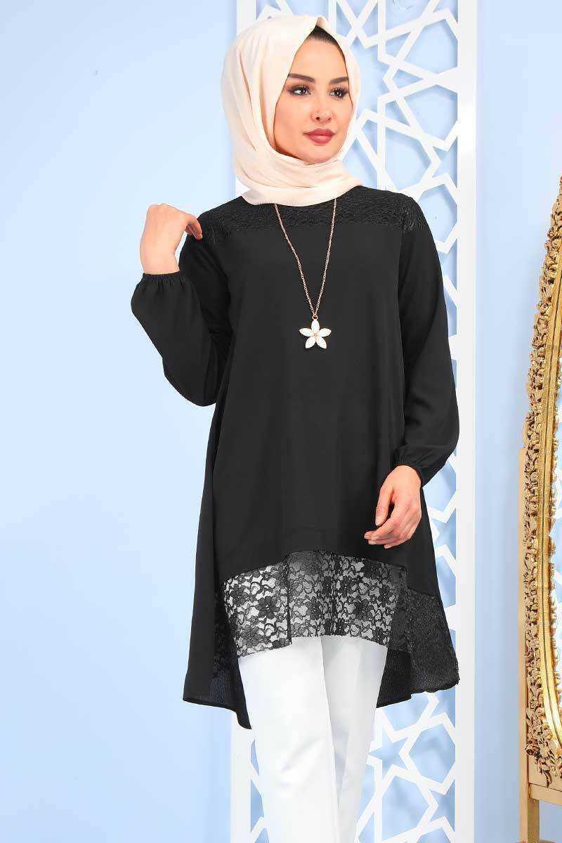 Zarı Moda Dantelli Tesettür Siyah Tunik Modelleri