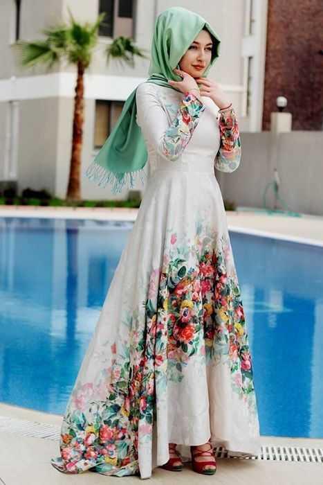 Özel Gün Çiçek Desenli Tesettür Elbise Modelleri
