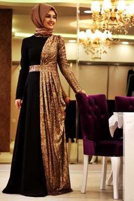 Özel Gün Şık Tesettür Elbise Modelleri