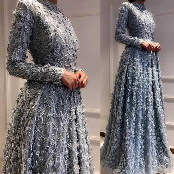 Üç Boyutlu Tesettür Abiye Elbise Modelleri