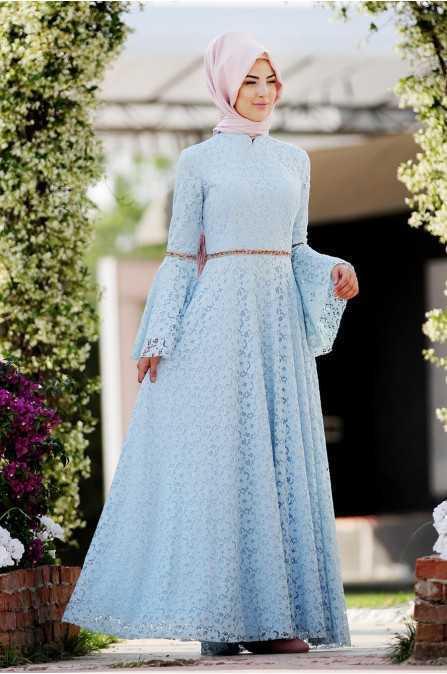 Açık Renk Özel Gün Tesettür Elbise Modelleri