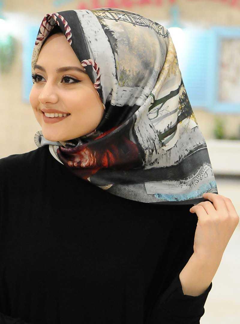 Afvente Dijital Baskılı Desenli Tafta Eşarp Modelleri