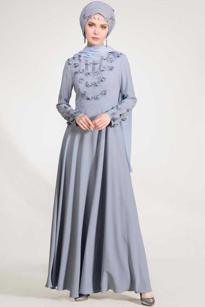 Alvina Üç Boyutlu Şık Tesettür Abiye Elbise Modelleri