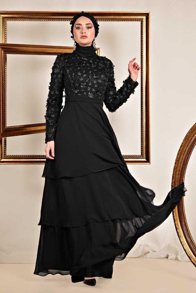 Alvina Üç Boyutlu Siyah Tesettür Abiye Elbise Modelleri