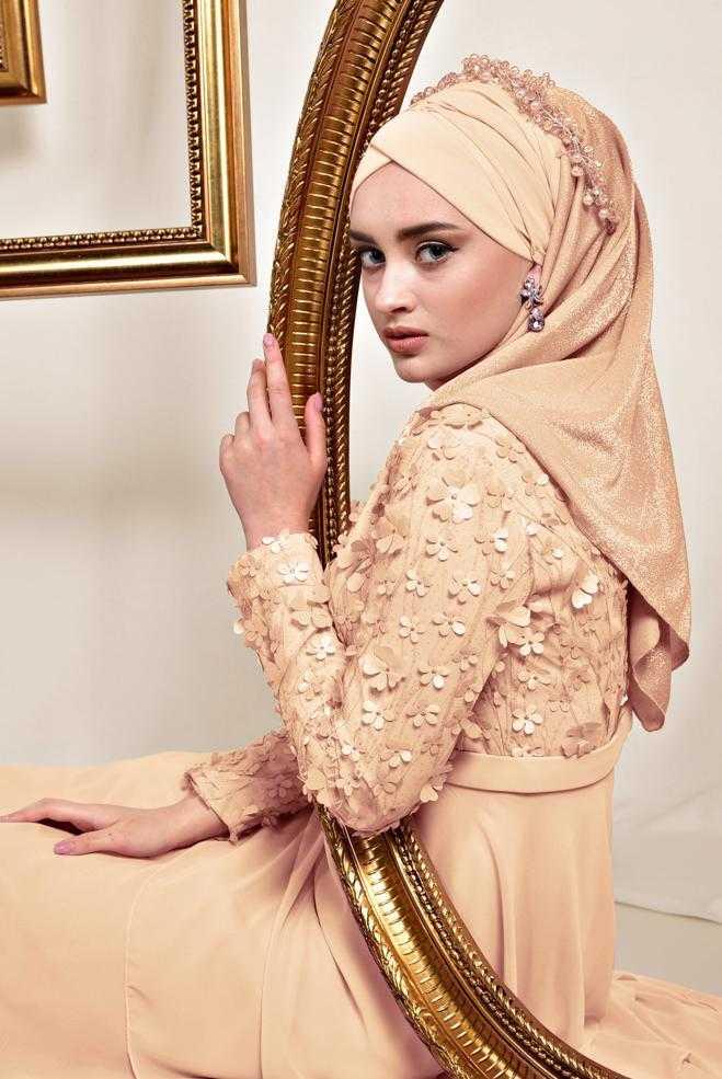 Alvina Üç Boyutlu Tesettür Abiye Elbise Modelleri
