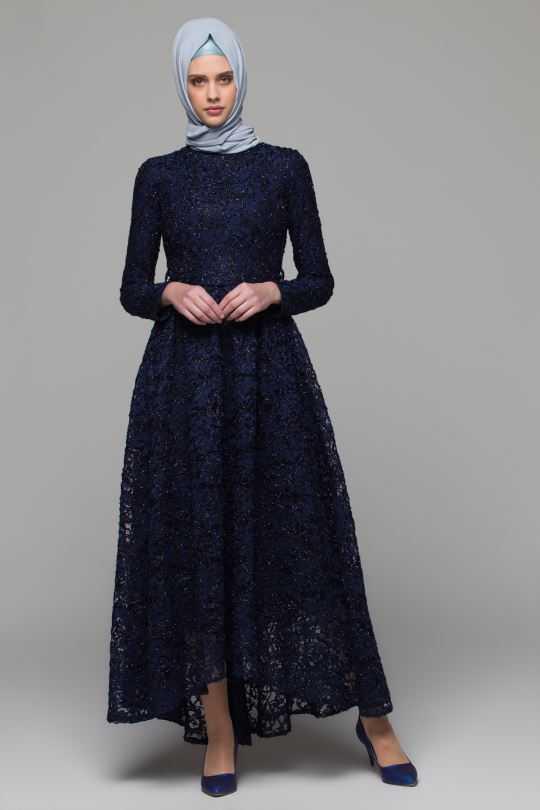 Armine Dantelli Tesettür Abiye Elbise Modelleri