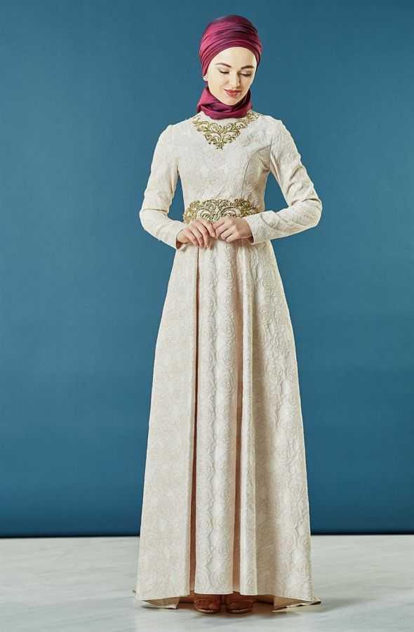 Armine Nakışlı Tesettür Abiye Elbise Modelleri