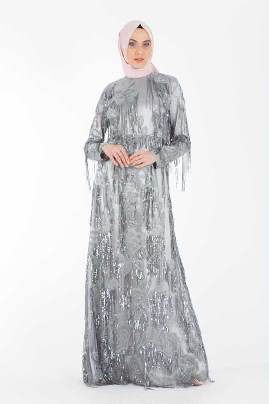 Armine Püsküllü Tesettür Abiye Elbise Modelleri