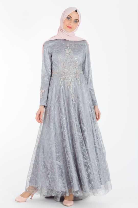 Armine Tesettür Tüllü Şık Abiye Elbise Modelleri