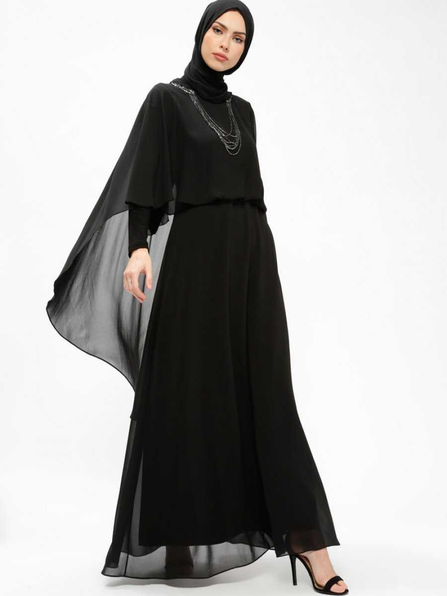 Armine Tesettür Tüllü Siyah Abiye Elbise Modelleri
