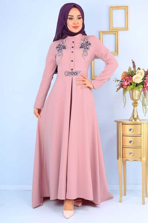 Asilmoda Tesettür Pudra Renk Elbise Modelleri