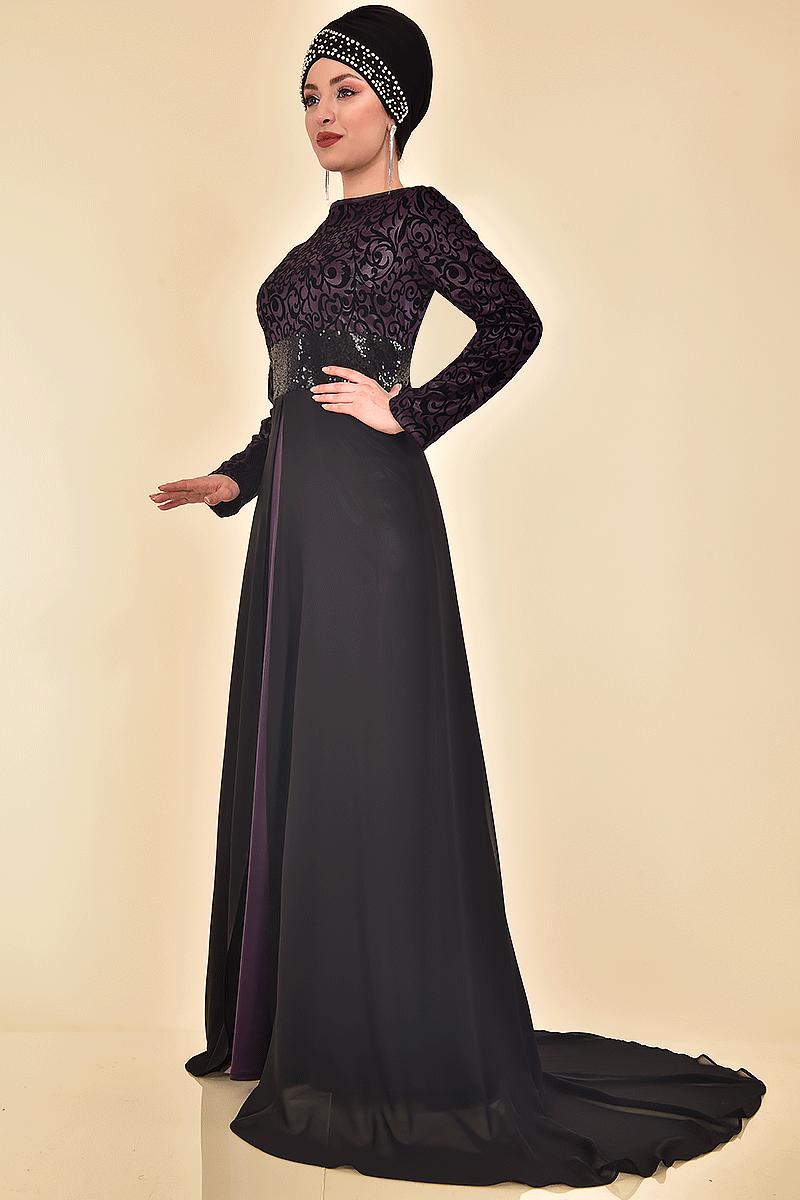 Ayşe Melek Tesettür Kuyruklu Abiye Elbise Modelleri