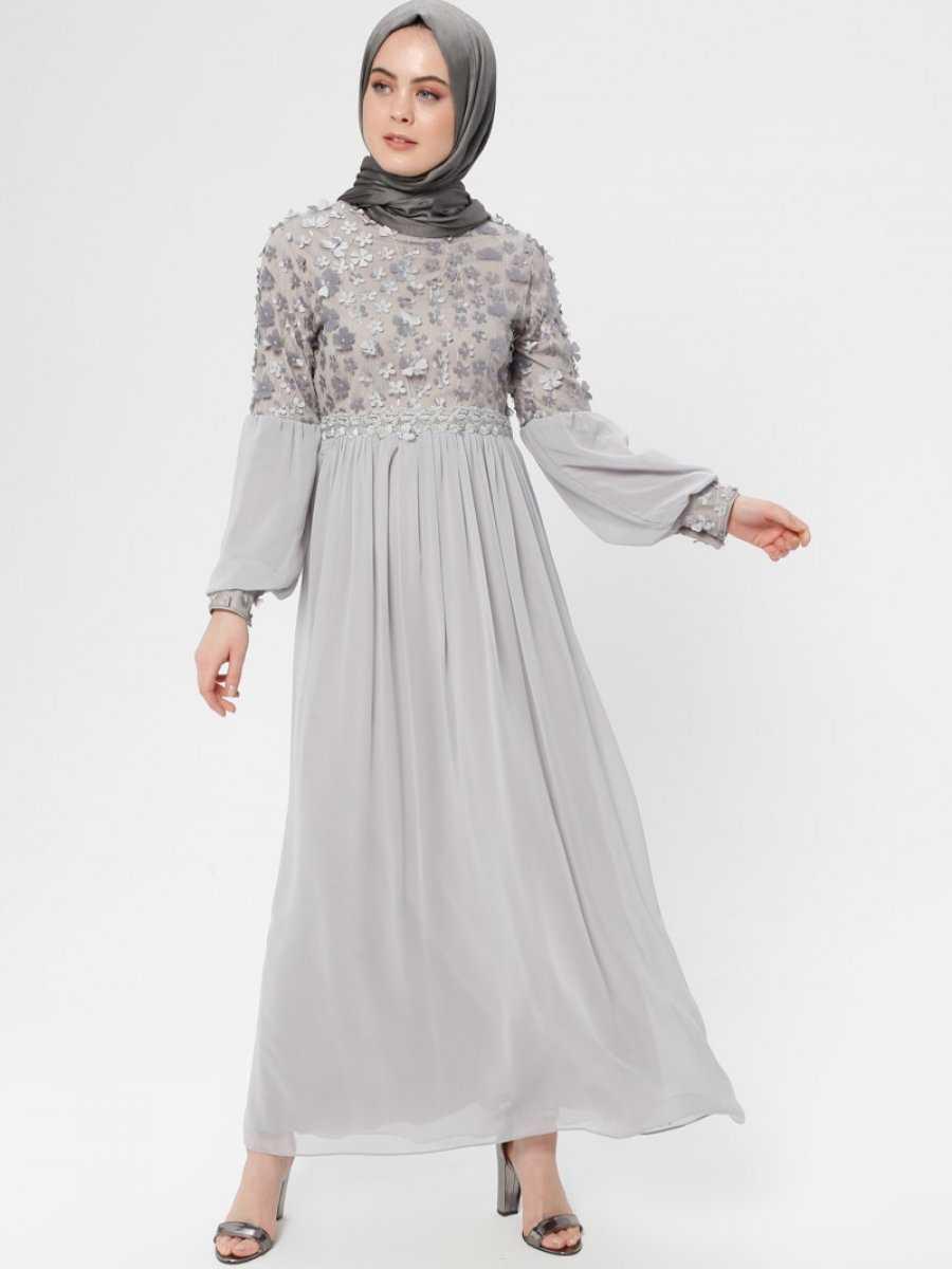 Bürün Tesettür Üç Boyutlu Abiye Elbise Modelleri