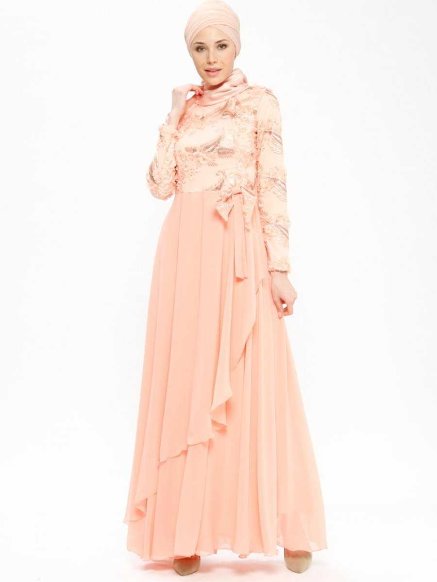 Butik Neşe Üç Boyutlu Tesettür Pudra Abiye Elbise Modelleri
