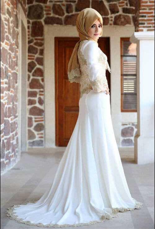 En Güzel Tesettür Kuyruklu Abiye Elbise Modelleri