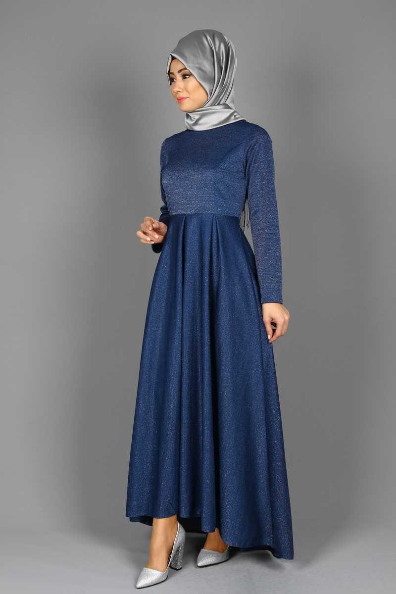Eymina Tesettür Kuyruklu Abiye Elbise Modelleri