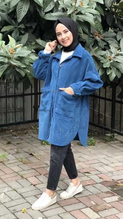 Kamil Keskin Tesettür Mavi Kadife Ceket Modelleri
