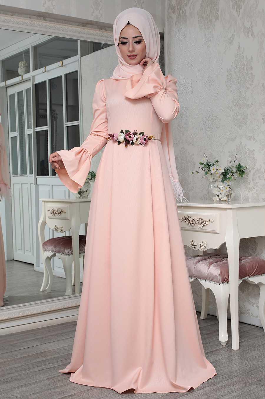 Lefzen Tesettür Pudra Renk Elbise Modelleri