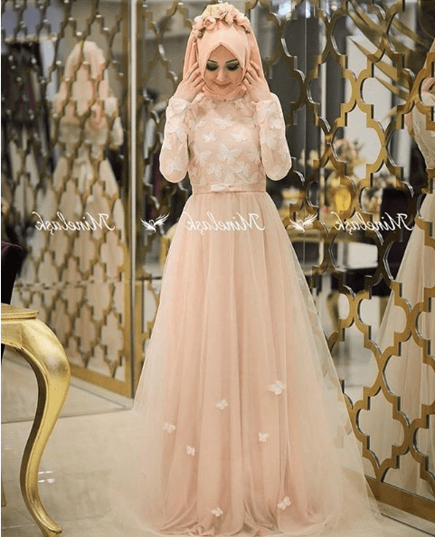 Minel Aşk Üç Boyutlu Tesettür Abiye Elbise Modelleri