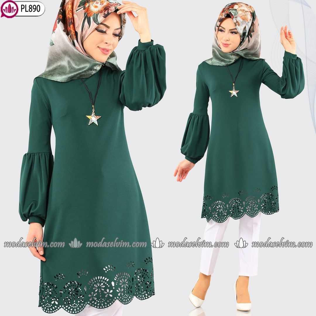 Moda Selvim Lazer Kesim Tesettür Yeşil Tunik Modelleri