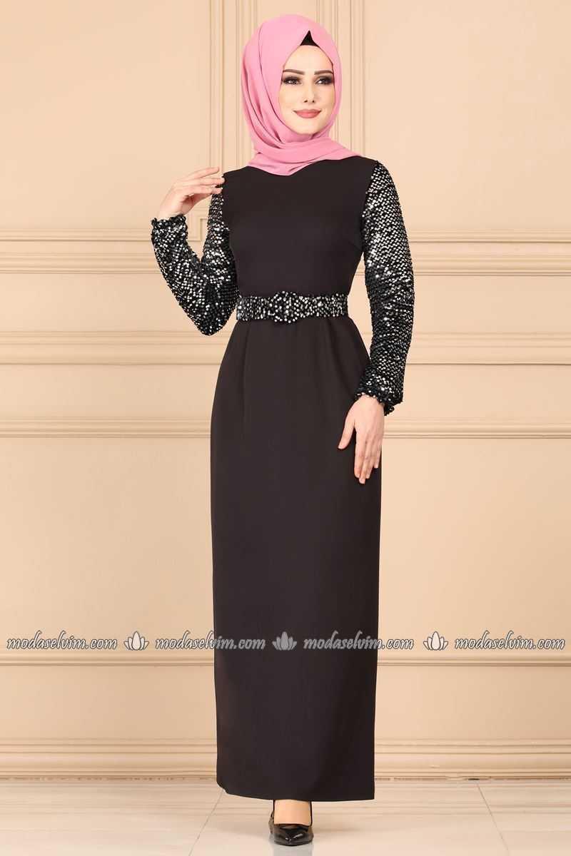 Moda Selvim Pullu Tesettür Elbise Modelleri