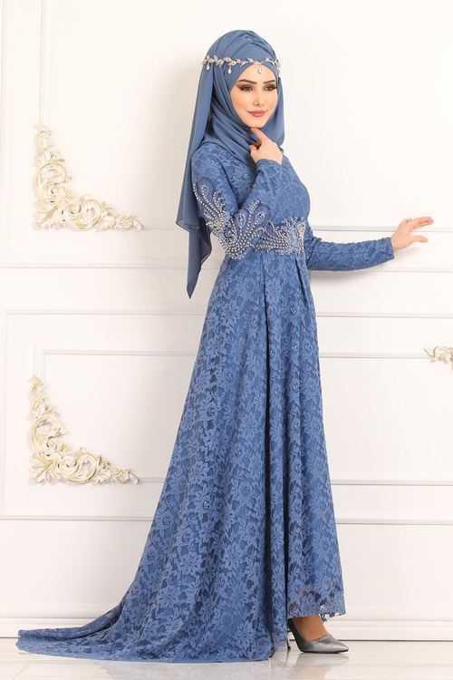 Moda Selvim Tesettür Kuyruklu Abiye Elbise Modelleri