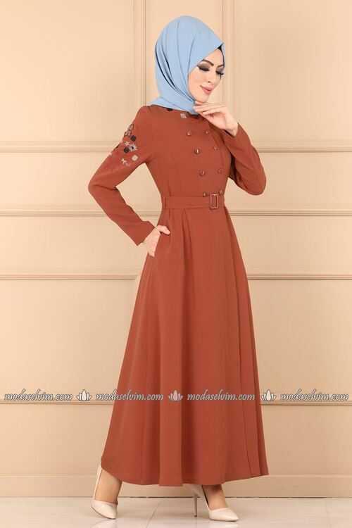 ModaSelvim Sonbahar Kış Tesettür Nakışlı Elbise Modelleri