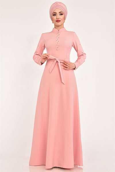 Modamerve Tesettür Pudra Renk Elbise Modelleri