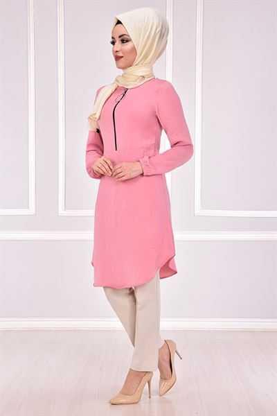 Modamerve Tesettür Pudra Renk Tunik Modelleri