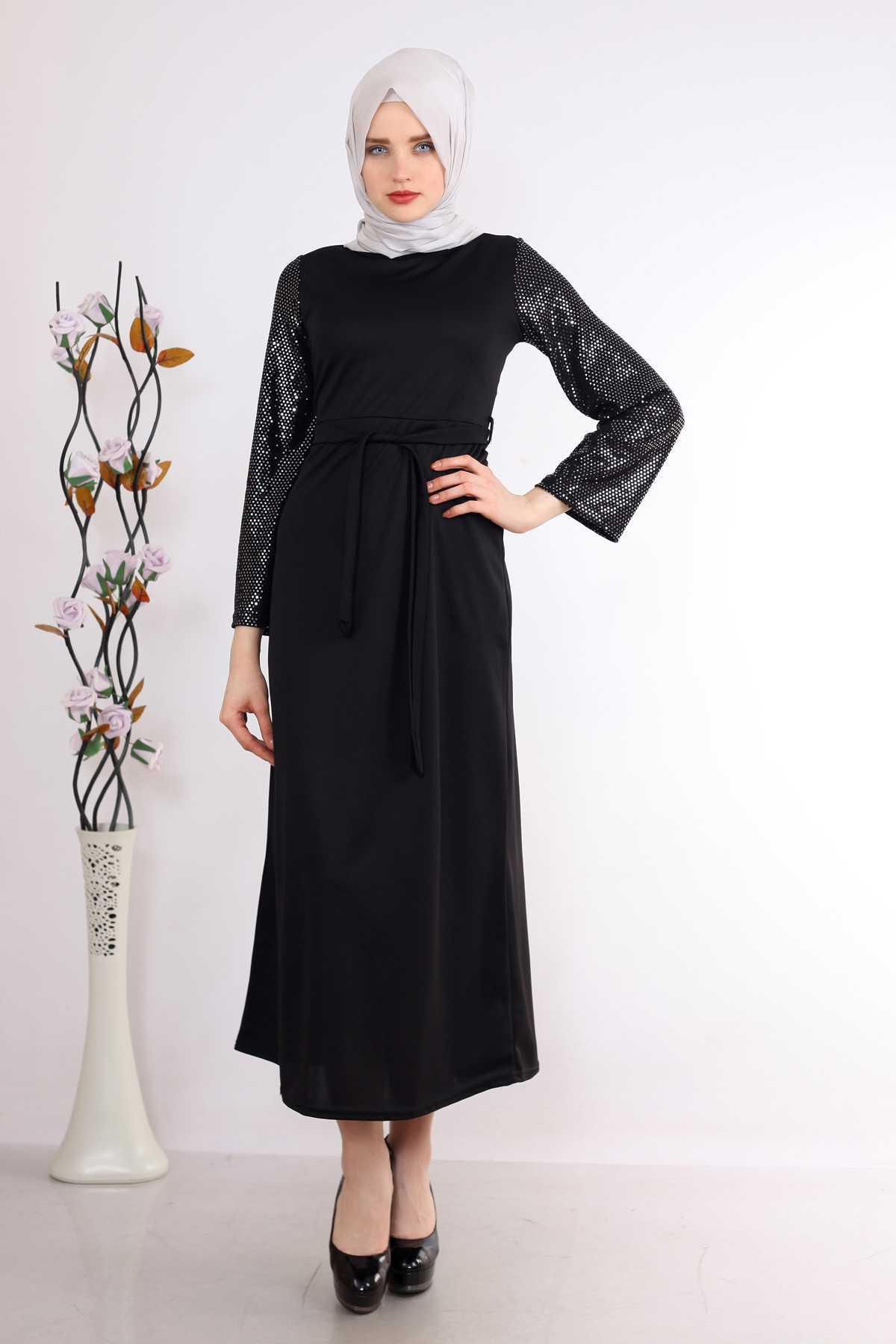 Modaminem Kolları Pullu Tesettür Elbise Modelleri